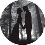 Kiss Under Tree Silhouette Grayscale